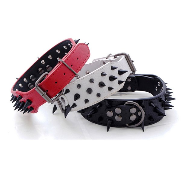 Cool Pet Dog Rivet Collar PU Leather Adjustable Studded Spiked Prevent Bite Wolf Tooth Punk Style Collar Neck Strap For Cat Dog