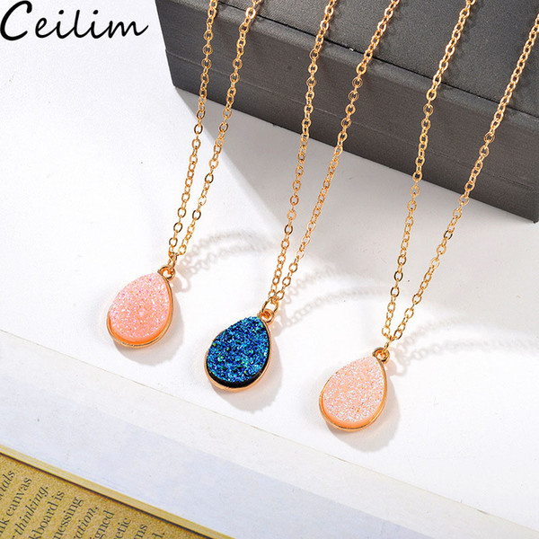 best selling New Fashion Gold Teardrop Resin Druzy Necklace For Women Fashion Statement Stone Choker Necklace Pendant Jewelry Wholesale