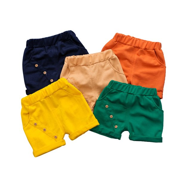 kids summer shorts age for 1-6 yrs baby boys casual candy color beach clothes 2019 spring cotton button simple loose short pants