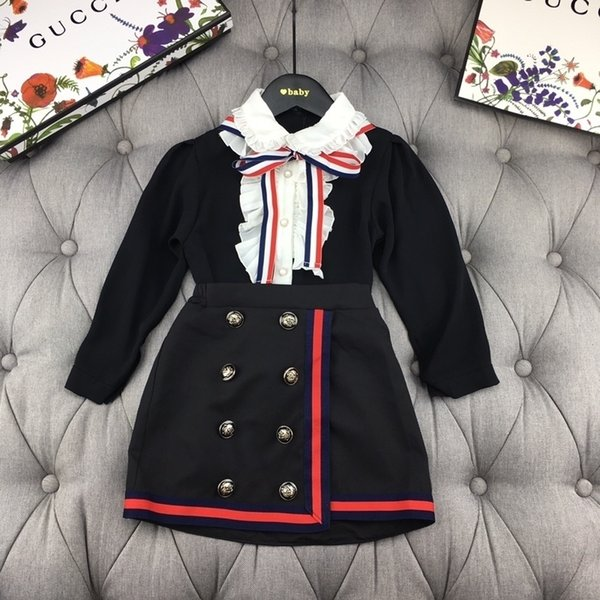 2019 Two Piece Outfits New Pattern Kids Clothing Set long Sleeve Luxury Designer Suit Childrens Clothes Academic dress 0818