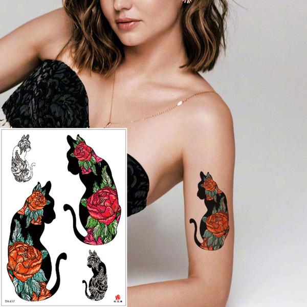 Cool Fashion Small Black Cat Temporary Tattoo Rose Flower Design for Women Men Waterproof Tattoo Sticker Body Transfer Tattoos Sticker Party