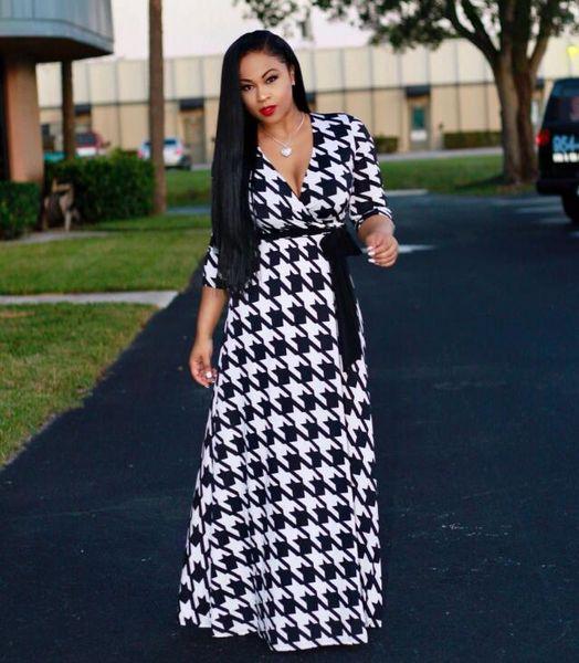 2019 Moda Feminina listras Preto e branco maxi dress Design Tradicional Africano Roupas Imprimir Dashiki Agradável Pescoço Vestidos Africanos para As Mulheres