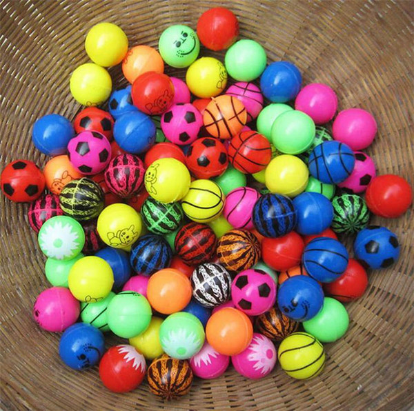 32MM Elastic Ball Bouncy Balls Printing Scrub Rubber Bouncing Balls Decompression Toy Random Styles Gift for children