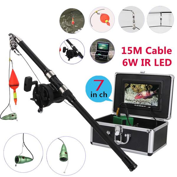 PDDHKK 7'' Inch HD Monitor 1000 TVL Waterproof Video Underwater Fishing Camera 6 PCS 1W Bright LED IR Lights With 30M See Wheel