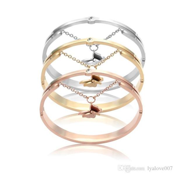 Classic titanium aço pulseiras de borboleta feito à mão trançado fivela moda estilo popular charme pulseiras pulseiras para as mulheres amor jóias