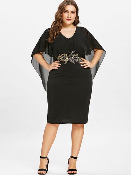 Las mujeres de moda más el tamaño 5XL bordado Capelet Semi Sheer V cuello vestido de fiesta medias mangas Vestido de la envoltura Vestidos de gran tamaño