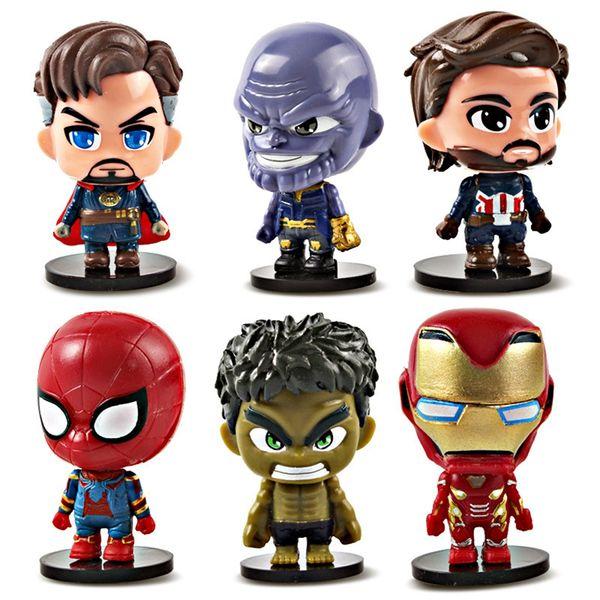 Figuras de acción de superhéroes Juguetes 7 cm Marvel Avengers 4 Infinity War Colección PVC muñecas Hulk Iron Man Doctor Extraño Juguetes para niños TTA847