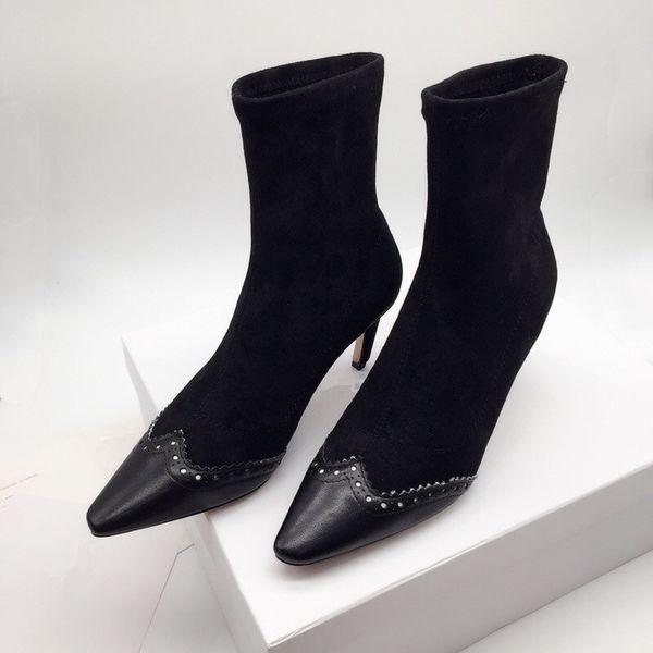 B 2019 moda lüks tasarımcı kadın örgü çizmeler Sivri yüksek topuk marka bayan uyluk Orta tüp Nefes Elastik çizmeler ks190718