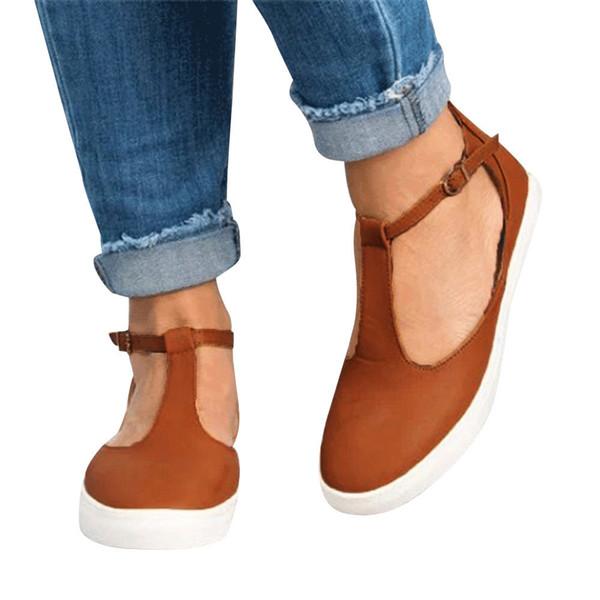 Designer Dress Shoes CAGACE 2019 Vintage Out Round Toe Platform Heel Buckle Strap Casual Female Hot sale style