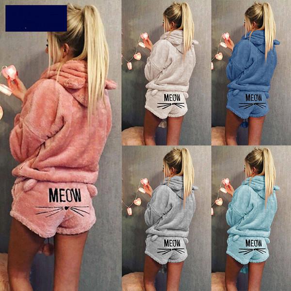 Women Coral Velvet Suit Two Piece Autumn Winter Pajamas Warm Sleepwear Cute Cat Meow Pattern Hoodies Shorts Set Vangull New