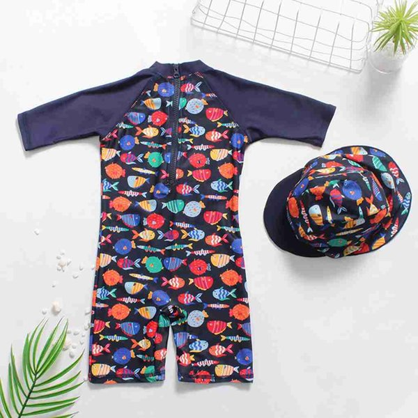 Telotuny Niños trajes de baño Niños Niños Niñas Dibujos animados Pez Imprimir Traje de baño de una pieza + Sombrero Trajes de baño Traje de baño de verano # 40