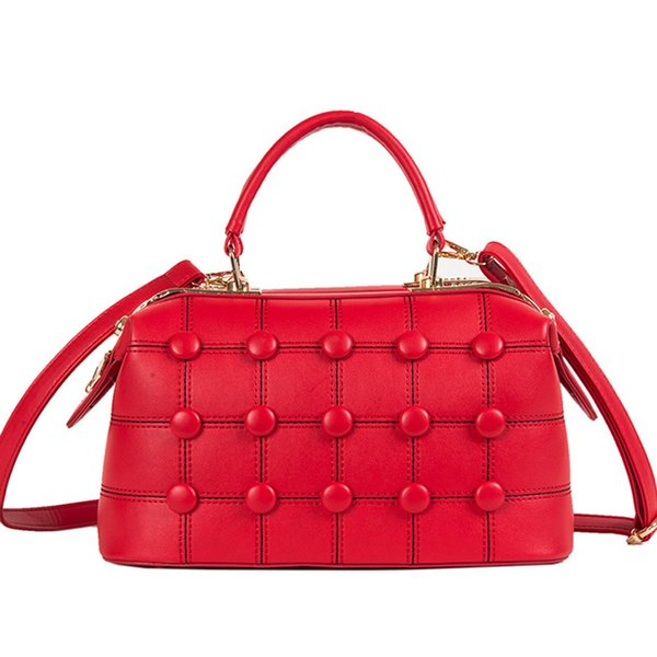 new luxury red button women bostonl bag fashion lady handbag studded female crossbody shoulder bag