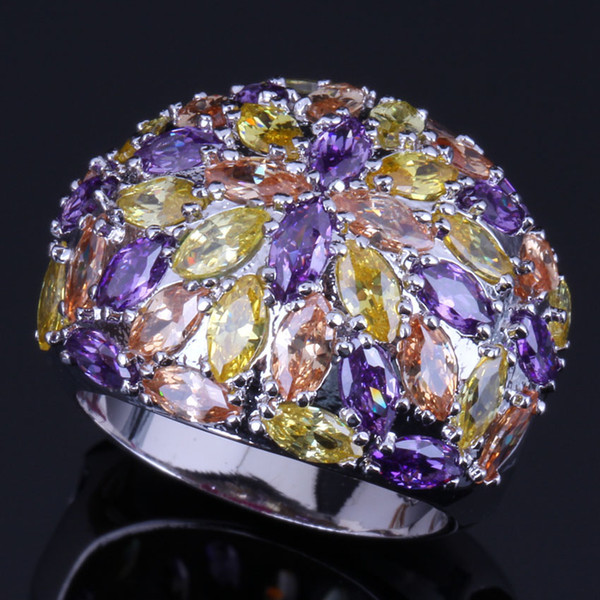 Precious Multigem Multicolor Yellow Cubic Zirconia 925 Sterling Silver Ring For Women V0506