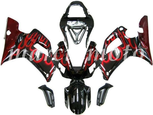 Nuovo (stampaggio a iniezione) ABS carenatura kit di misura per Yamaha YZF-R1 2000 2001 YZF-R1 00 01 carenature set black Red Flame