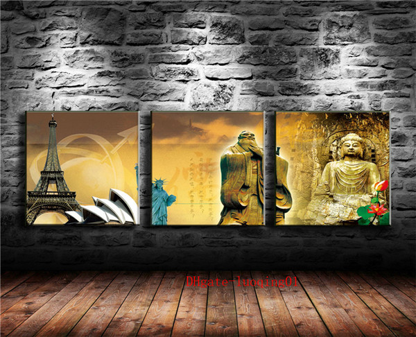 Chinese and Western Cultures , 3P Canvas Pieces Home Decor HD Printed Modern Art Painting on Canvas (Unframed/Framed)