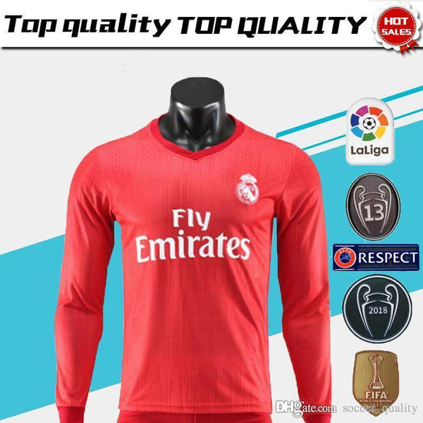 brand new c0bf7 3a2c1 2019 New Real Madrid Home White Long Sleeve Soccer Jersey 17/18 Real Madrid  Away Black Soccer Shirt 2018 Ronaldo Football Uniforms Isco Sales From ...
