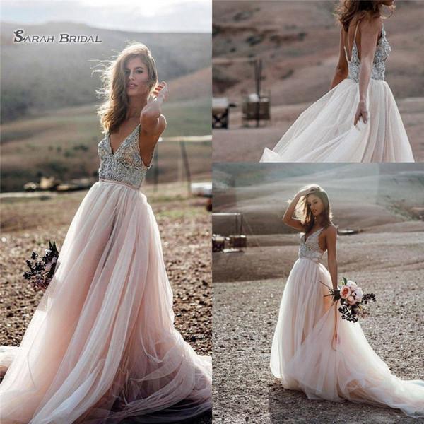 top popular 2019 Chic Bohemia Beach A Line Party Gown Wedding Dresses Backless Crystals Country Bridal Gowns Boho Vestido De Novia 2020