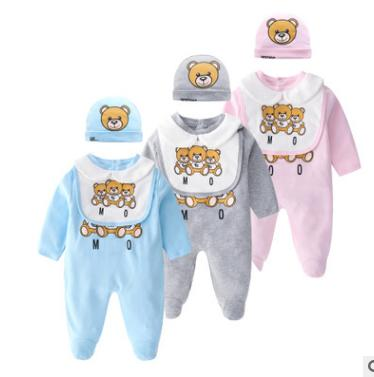 top popular New baby jumpsuit 3-piece set web celebrity baby clothes autumn outfit pure cotton spring and autumn long-sleeved khaki baby climbing suit 2020
