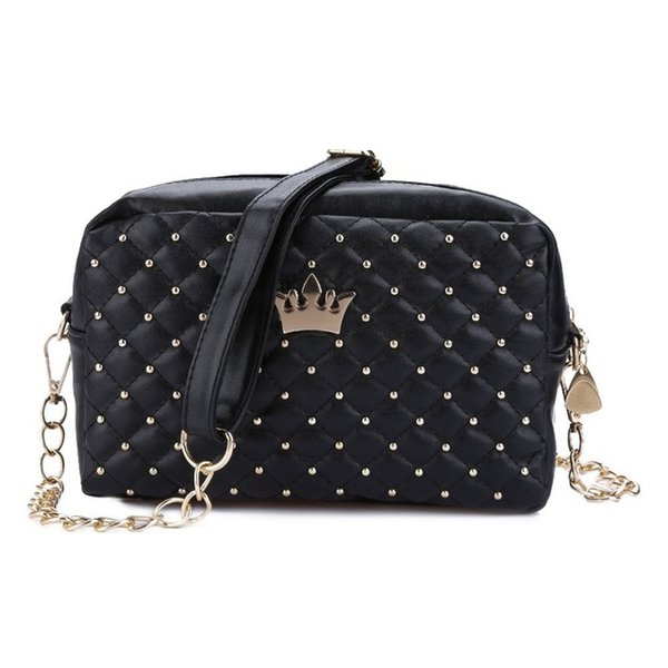 2017 Korean Women Handbag Female Crown Rivet Chain Shoulder Bag Ladies PU Leather Crossbody Messenger Small Phone Bags