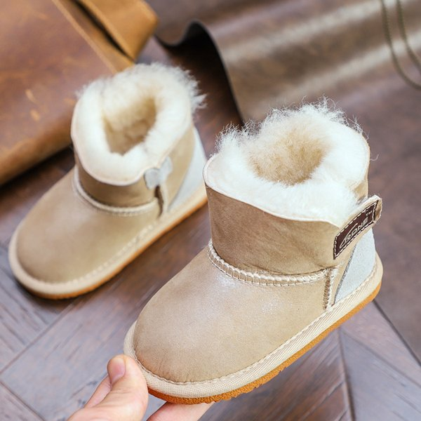 kids snow boots shoes brand one fur winter warm children unisex boots quality cartoon print baby shoes for winter