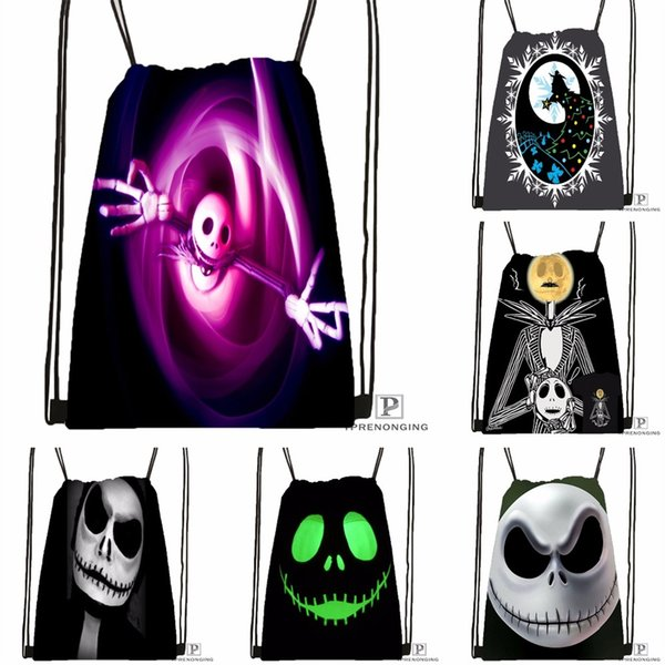 Custom Nightmare Before Christmas Black Lobb Drawstring Backpack Bag Cute Daypack Kids Satchel (Black Back) 31x40cm#180531-03-38 #33954