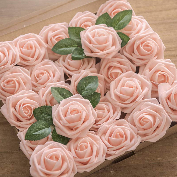 2019 Artificial Flowers Blush Roses Real Looking Fake Roses W Stem For Diy Wedding Bouquets Centerpieces Bridal Shower Party Ho From Rosaling 25 72