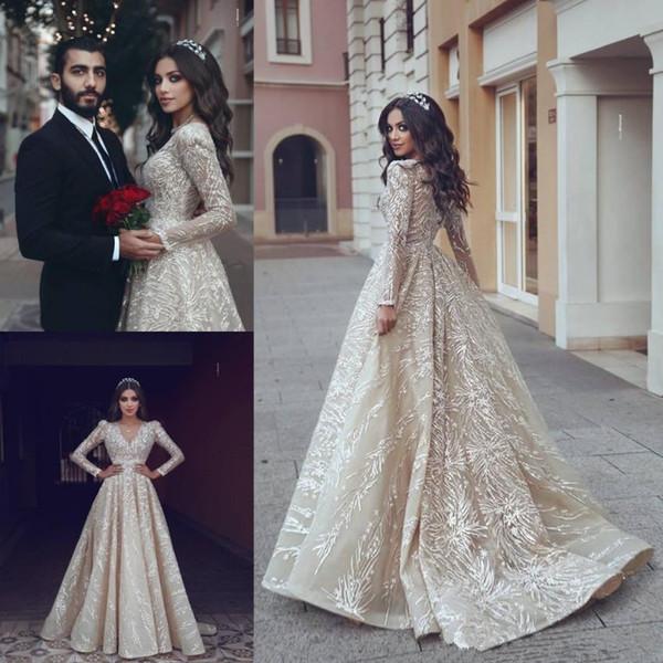 Long Sleeve Champagne Princess Wedding Dresses Arabic V-neck Puffy Skirt Lace Detail Full Back Church Garden Bridal Wedding Gown