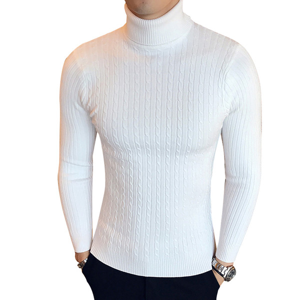 Зима с высокой шеей толстый теплый свитер мужской водолазка Марка мужские свитера Slim Fit пуловер мужской трикотаж мужской двойной воротник