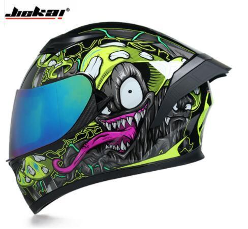 top popular Racing helmet Man Women Casco Capacete Full Face Motorcycle Helmet motorcross Double lens helmets With Personality Horn 2021