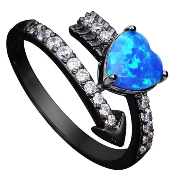 Charm Zircon Heart Blue White fire Opal Rings For Women Vintage Black color Cupid arrow Female Ring Jewelry Party Accessories
