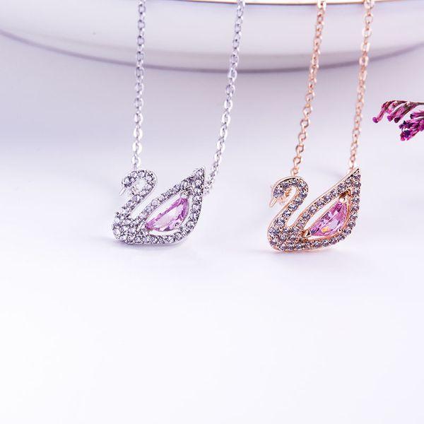 2019 nouveau collier en cristal Swarovski tendance européenne or rose diamant en forme de cygne diamant pendentif collier cadeau de la Saint-Valentin romantique
