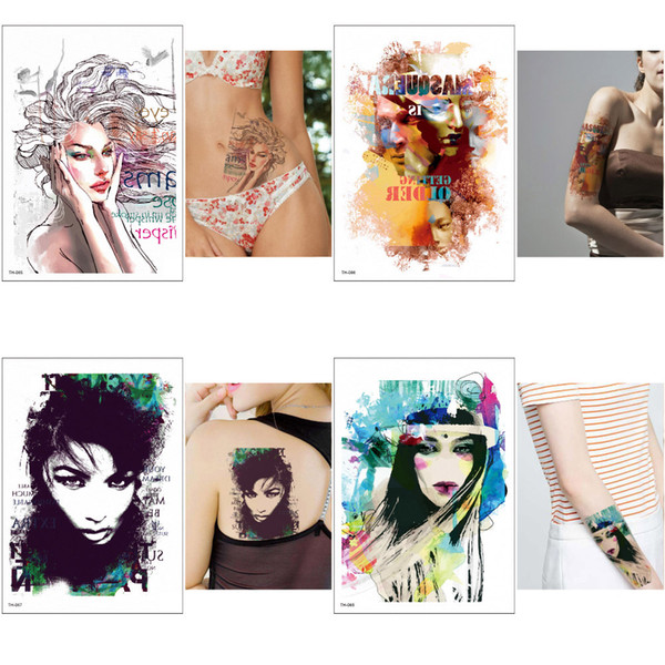 Watercolor Beauty Women Temporary Tattoo Designs Sticker for Women and Men Body Art Arm Leg Waterproof Decal Colored Drawing Painting Tattoo