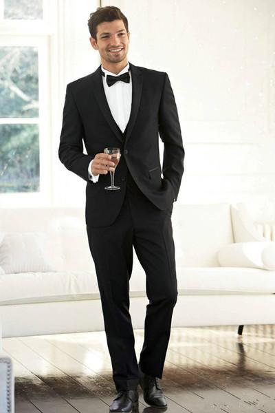 New Custom Black Slim Fit Men Suits(Jacket+Pants) for Wedding Peak Lapel Groomsman Best Man Suits Prom Wear 615