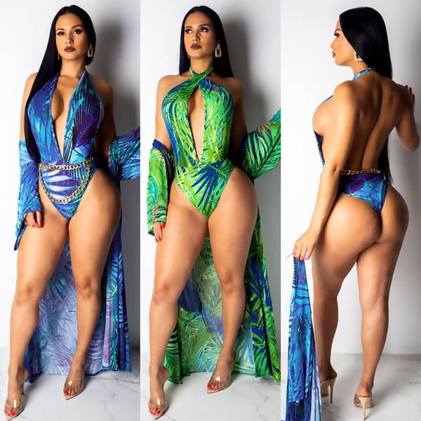 Spot ladies high-end sexy print shawl halter two-piece swimsuit beach clothes women
