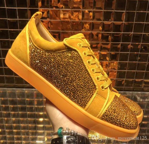 Strass Sneakers Ayakkabı Sarı Süet Deri Yapay elmas Casual Kırmızı Dip Ayakkabı Ünlü Tasarımcı Boş beraber Yürüyüş Nefis Sparkle
