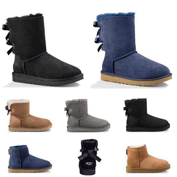 Новый дизайнер Австралии женщины классические снегоступы лодыжки с коротким бантом меховой ботинок для зимы черный розовый серый темно-синий женская зимняя обувь размер 36-41