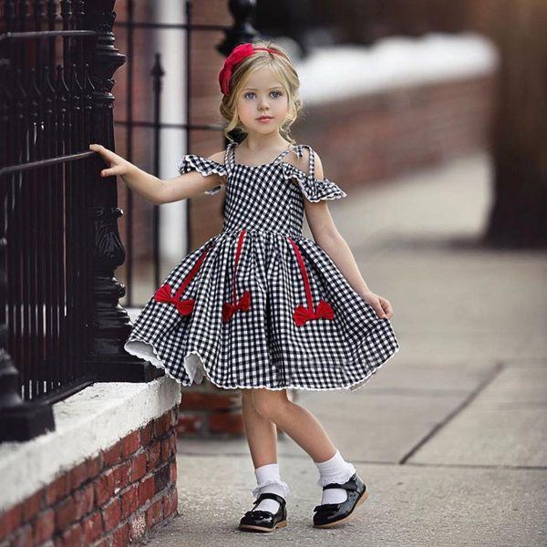 Mädchen Kleid Mädchen Kleider Sommer Fliegenhülse Plaid Bandage Bowkont Prinzessin Baby Kleid Kinder Kinder Kleidung Q102