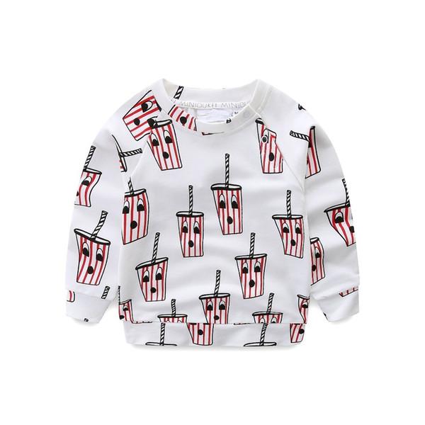 Nueva moda de primavera para niños Grils Tops niños Hoodies bebida patrón camiseta pantalones ropa niños algodón ropa de alta calidad Y190518