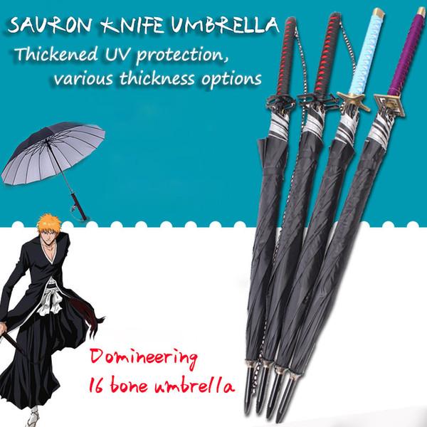 Regalos Bleach Zangetsu Espada automática paraguas de la lluvia de las mujeres Samurai Espada Ninja cuchillo paraguas a prueba de viento Espesar Parasol para hombre