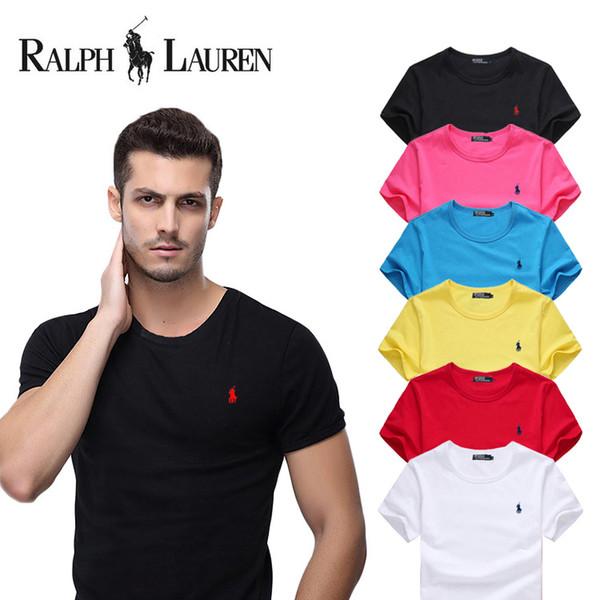 Herren T Shirts Mode 2019 Marke Männer Kleine Pferd Stickerei Kurzarm T-shirt Männer Casual 100% Baumwolle elastische T-shirt Tops Heißer Verkauf