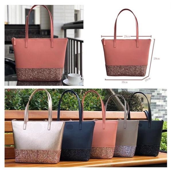Women k de igner handbag cla ic tar giltter hopping bag pu leather lady luxury houlder bag tote fa hion brand female pur e c52808, Black