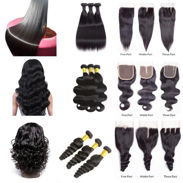 Msjoli Indisches Menschenhaar Kaufen Sie 3 Bundles Erhalten Sie 1 Unverarbeitetes brasilianisches Jungfrau-Haar mit 3 Bundles und 4 x 4 Spitzen-Haarverlängerungen