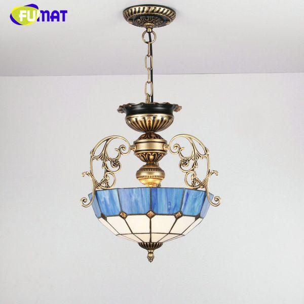 FUMAT Euroepan Style Lustre Abat-jour Bleu Lumière Pour Salon Lit Chambre Vintage Home Deco Métal Tiffany Verre LED Lustres