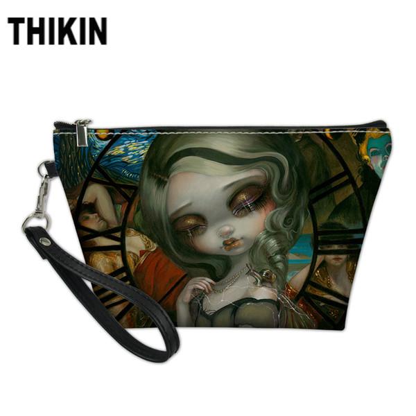 THIKIN Dark Style Girls Printing Cosmetic Case Women Travel Toiletry Bags Ladies Portable Wash Kit Bag for Girls Female Custom