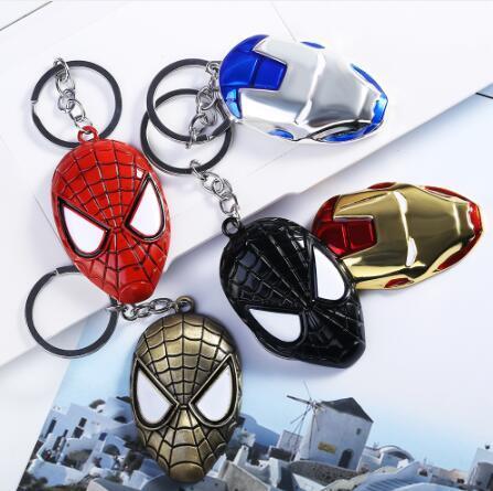 DHL free Comic Super Hero Series Keychain High Quality Metal Spider-Man Superman Shield Batman Mask Iron Man Key Chain Ring