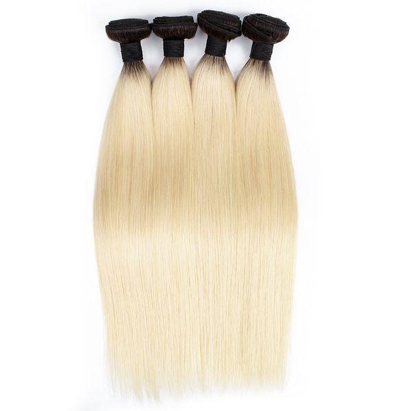 KISSHAIR 4 пучка T1B613 темный корень блондин прямые прямые волосы девственницы двухцветная омбре перуанский бразильский индийский Реми переплетения человеческих волос
