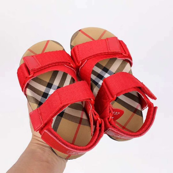 girl red shoes fashion classical plaid sandals leather vamp high quality for child dress in home or outdoor summer slippers EU 24-35