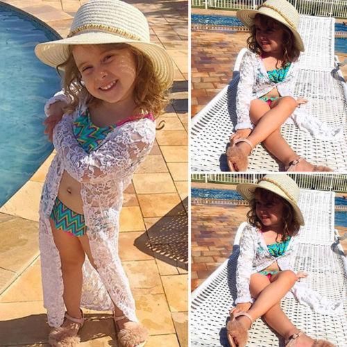 summer floral kids baby girls long sleeve lace sunscreen beach dress rashguard outfits bikini cover up outerwear
