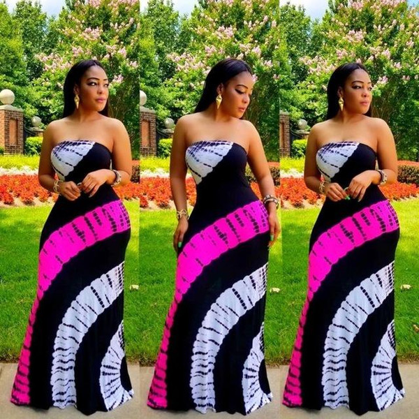 Tie Dye Color Block Patchwork Sexy Maxi Dress Women Strapless Sleeveless Long Robes Summer Empire Bandage Mermaid Dresses