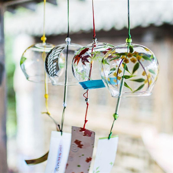 Cheap & Hanging Decorations Glass Chimes Japanese-style Wind Chime Simple and Beautiful Label Pendnat Chimes Wind Bells(Pattern 2)